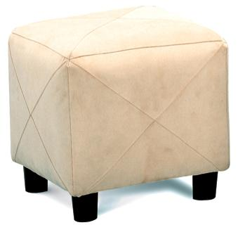 Taupe Microfiber Cube Ottoman Footstool by Coaster - 500944