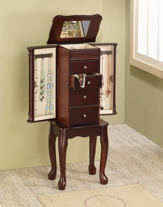 Traditional Cherry Finish Jewelry Armoire Lingerie Chest by Coaster 903800