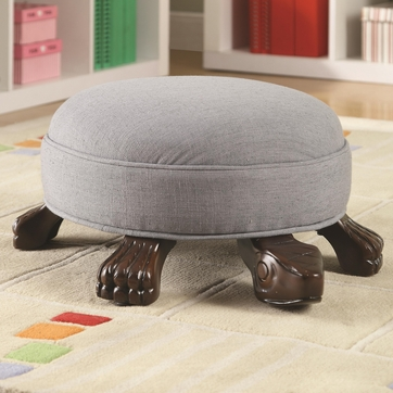 Turtle Shaped Linen Ottoman with Cappuccino Finish Wood by Coaster 508025