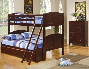 Twin / Full Solid Pine Bunk Bed in a Cappuccino Finish by Coaster  460212