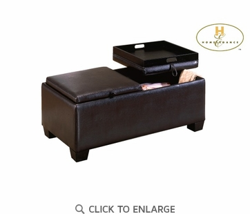 Vega Dark Brown Bi-Cast Vinyl Storage Ottoman by Homelegance 458B