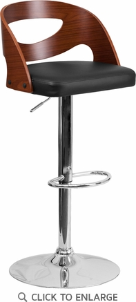Walnut Bentwood Adjustable Height Barstool with Black Vinyl Seat and Cutout Back [SD-2168-WAL-GG]