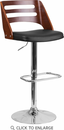 Walnut Bentwood Adjustable Height Barstool with Black Vinyl Seat and Cutout Back [SD-2702-WAL-GG]