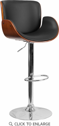 Walnut Bentwood Adjustable Height Barstool with Curved Black Vinyl Seat [SD-2690-WAL-GG]