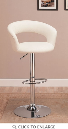 White Adjustable Metal Bar Stool Chair by Coaster - 120347