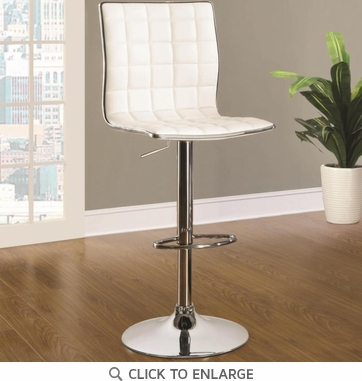 White and Chrome Adjustable Swivel Bar Stool Chair by Coaster 122089 - Set of 2