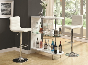white bar table and bar stool chair with wine storage by coaster
