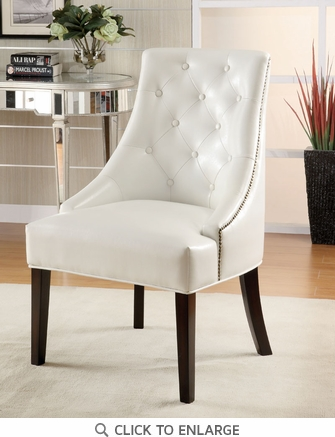 White Bonded Leather Accent Lounge Chair by Coaster - 900283