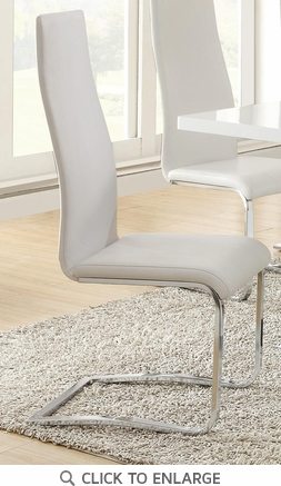 White Faux Leather Chrome Leg Dining Chairs by Coaster 100515WHT - Set of 4