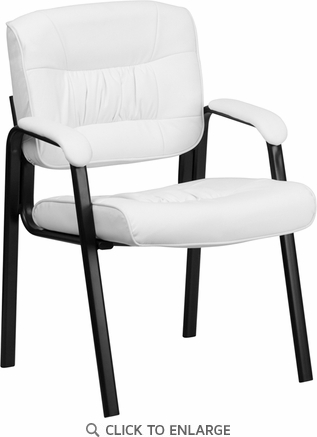 White Leather Guest / Reception Chair with Black Frame Finish [BT-1404-WH-GG]