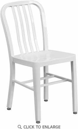 White Metal Indoor-Outdoor Chair [CH-61200-18-WH-GG]
