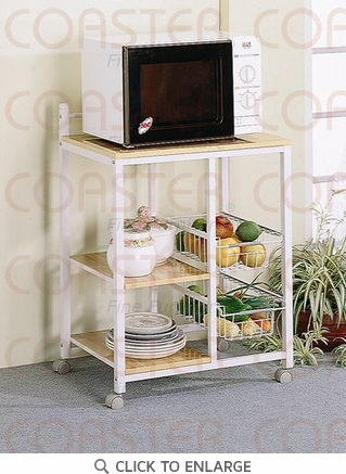 White Microwave Utility Cart with Shelves and Baskets by Coaster - 2506