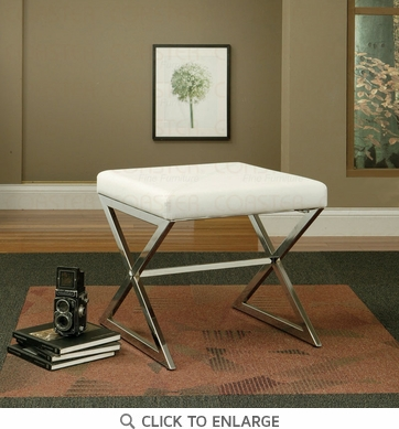 White Vinyl X-Base Ottoman Bench by Coaster - 501063