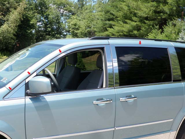 2008-2012 Dodge Grand Caravan 8pc Window Trim Package NO Pillar Post