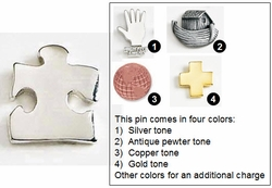 Puzzle Piece Metal Lapel Pin, Border Piece