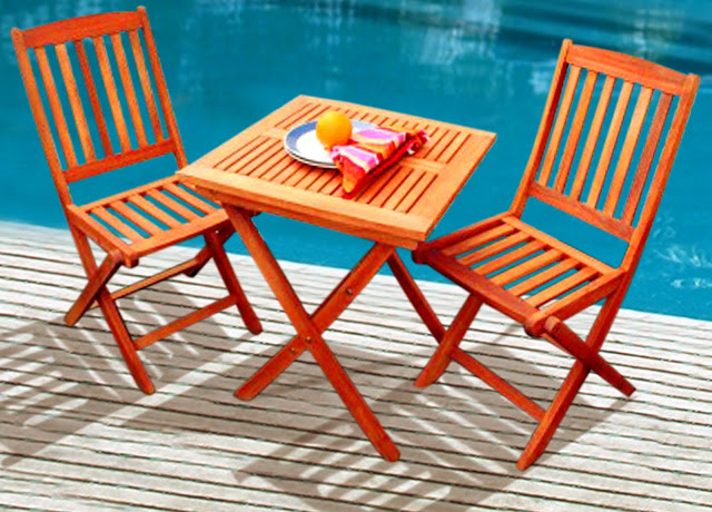 3 Piece Outdoor Folding Bistro Set With Table And 2 Full Vertical Slat Back F