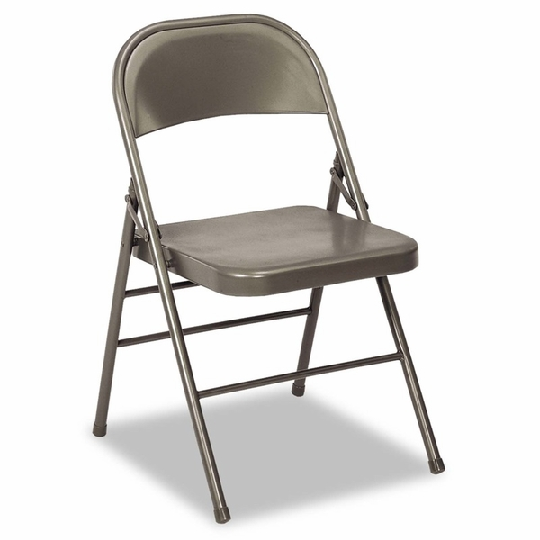 Cosco Deluxe Vinyl Padded Seat & Back Folding Chairs Light Gray 4 Ca