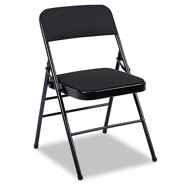 Cosco Deluxe Fabric Padded Seat & Back Folding Chairs Cavallaro Black