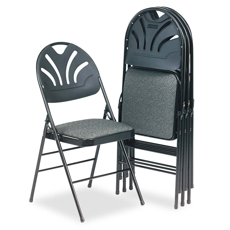 Cosco Fabric Padded Seat Molded Fan Back Folding Chair Kinnear Black 4 C