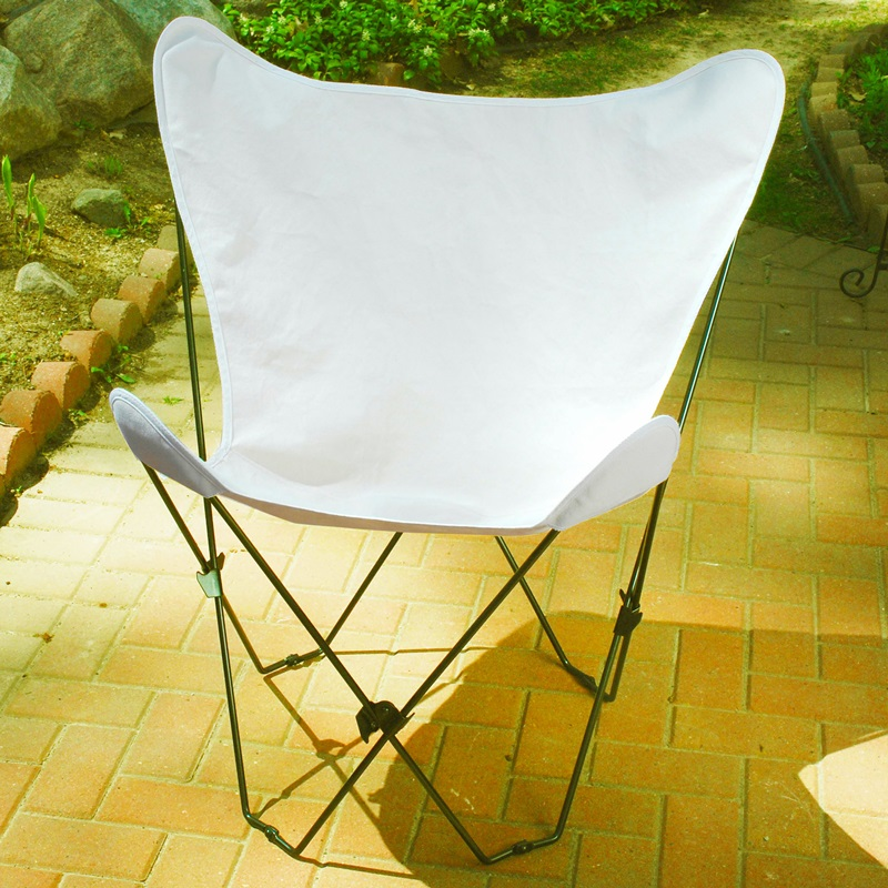 Folding Butterfly Chair with Black Steel Frame and Cotton Cover Natural