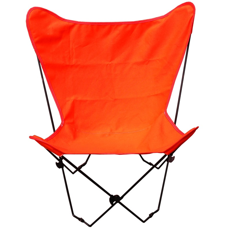 Folding Butterfly Chair with Black Steel Frame and Cotton Cover Orange