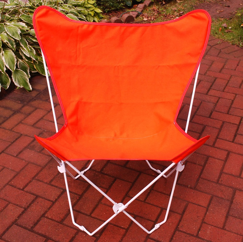 Folding Butterfly Chair with White Steel Frame and Cotton Cover Orange