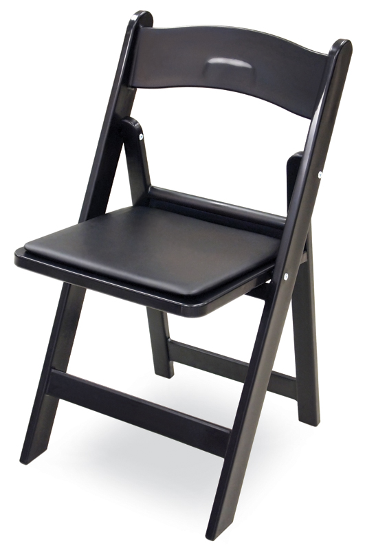 Gala Resin Steel Reinforced Stackable Folding Chair with Padded Seat Black