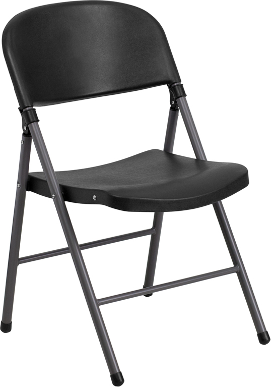 HERCULES Series 330 lb Capacity Black Plastic Folding Chair with Charcoal Fr