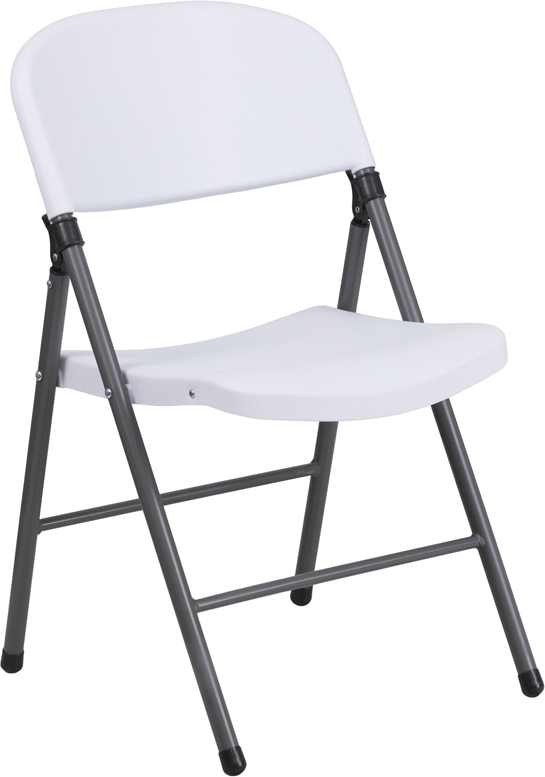 HERCULES Series 330 lb Capacity White Plastic Folding Chair with Charcoal Fr
