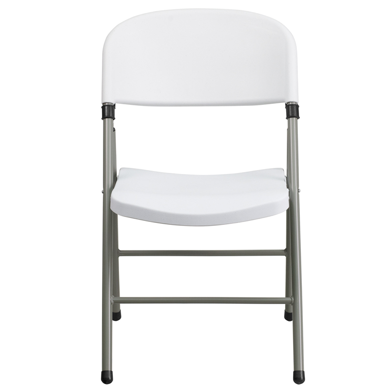HERCULES Series 330 lb Capacity White Plastic Folding Chair with Gray Frame