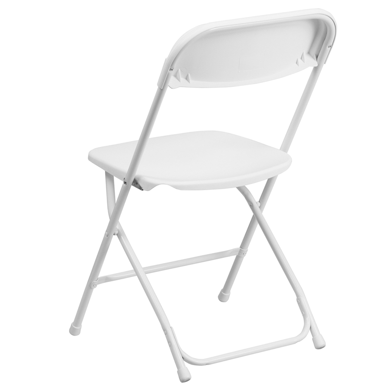HERCULES Series 800 lb Capacity White Plastic Folding Chair