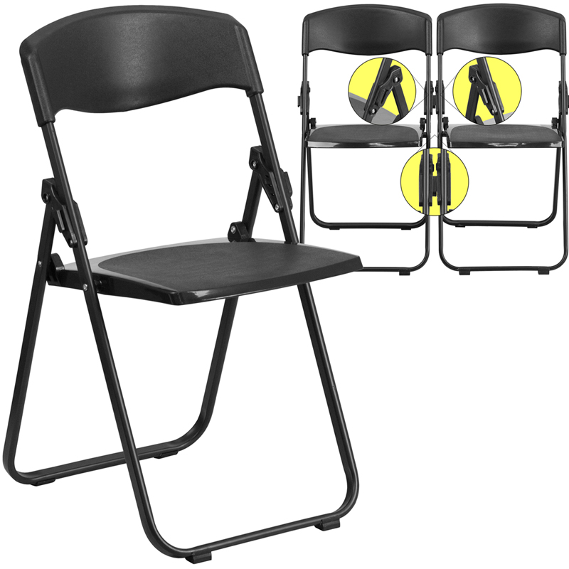 HERCULES Series 880 lb Capacity Heavy Duty Black Plastic Folding Chair with