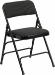 HERCULES Series Curved Triple Braced & Quad Hinged Black Patterned Fabric Upholstered Metal Folding Chair [AW-MC309AF-BLK-GG]