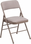 HERCULES Series Triple Braced Beige Fabric Upholstered Metal Folding Chair [HF3-7-GG]