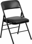 HERCULES Series Triple Braced Black Vinyl Upholstered Metal Folding Chair [HF3-3-GG]