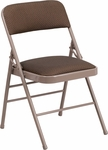 HERCULES Series Triple Braced Brown Fabric Upholstered Metal Folding Chair [HF3-4-GG]