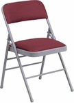 HERCULES Series Triple Braced Burgundy Patterned Fabric Upholstered Metal Folding Chair [HF3-6-GG]