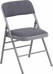 HERCULES Series Triple Braced Gray Fabric Upholstered Metal Folding Chair [HF3-8-GG]