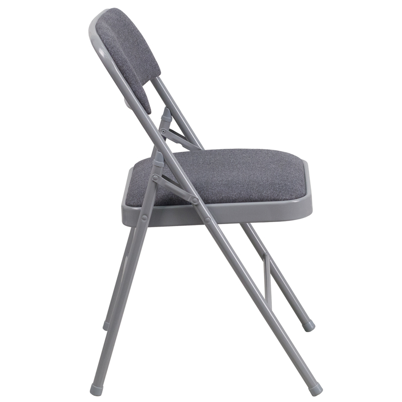 HERCULES Series Triple Braced Gray Fabric Upholstered Metal Folding Chair