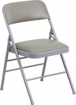 HERCULES Series Triple Braced Gray Vinyl Upholstered Metal Folding Chair [HF3-1-GG]