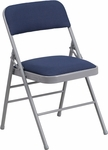 HERCULES Series Triple Braced Navy Patterned Fabric Upholstered Metal Folding Chair [HF3-5-GG]