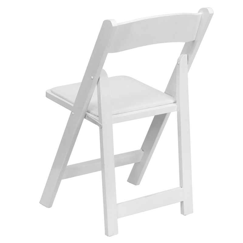 HERCULES Series White Wood Folding Chair With Vinyl Padded Seat FoldingChai
