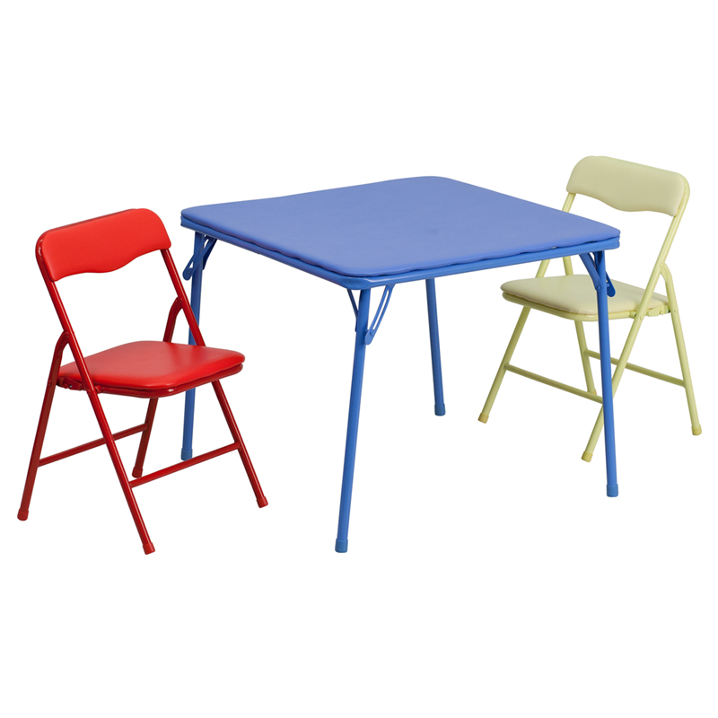 Folding Kids Table : Kids Colorful 3 Piece Folding Table and Chair Set  FoldingChairs4Less ...