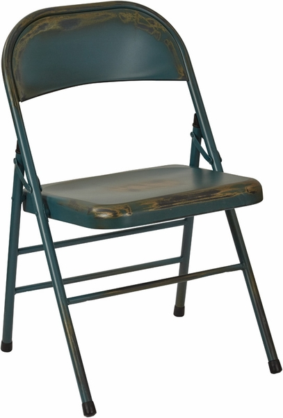 OSP Designs Bristow Distressed Steel Folding Chair Set of 2 Antique Sky B