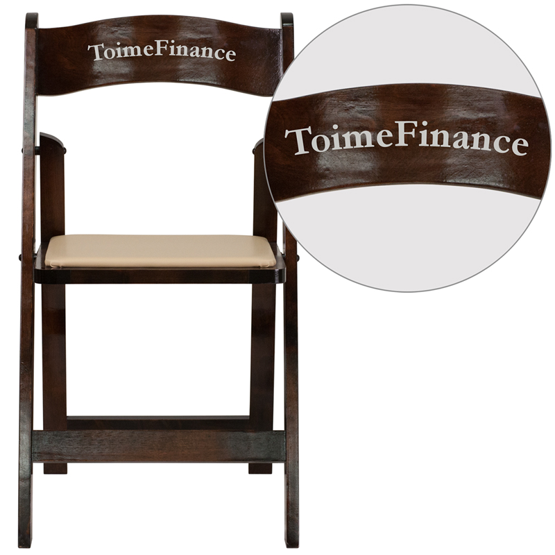 Personalized HERCULES Series Fruitwood Wood Folding Chair with Vinyl Padded S