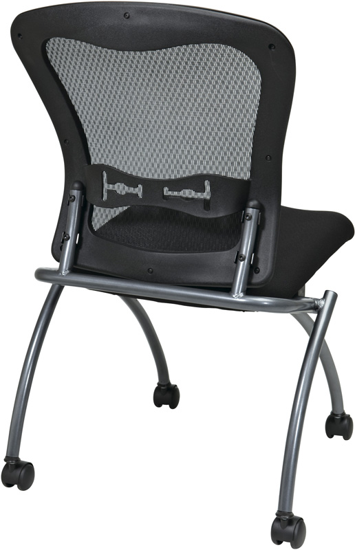 Pro Line II Deluxe Armless Folding Chair with ProGrid Mesh Back and Casters