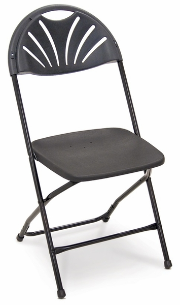 Series 5 Steel Frame Stackable Fanback Folding Chair with Polypropylene Seat