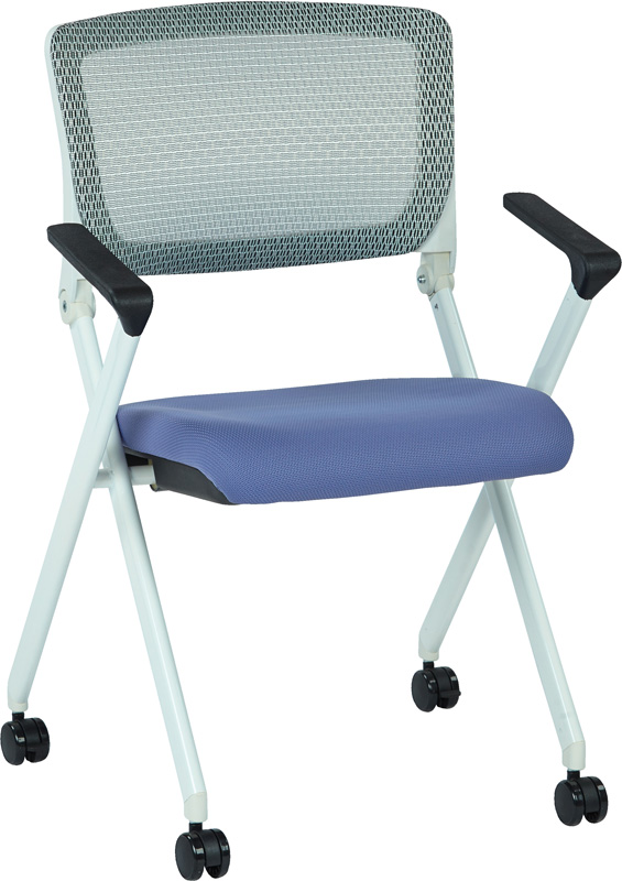 Space Pulsar Folding Chair with Breathable Mesh Back and Fabric Seat Set of