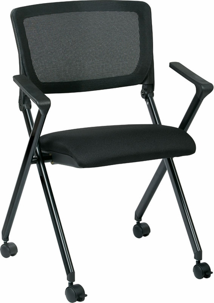 Work Smart Nesting Folding Chair with Screen Back and Padded Seat Set of 2