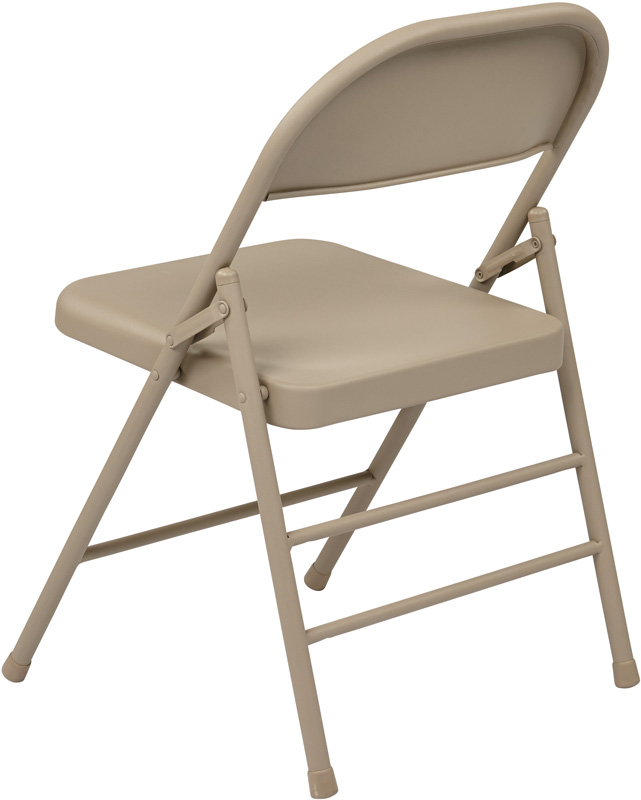 work smart chair with metal seat and back set of 4 tan ff 22124m